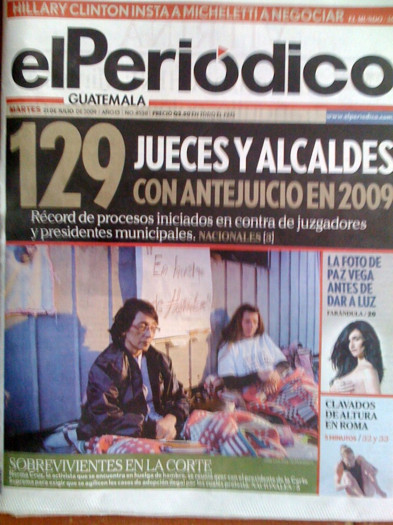 Cover picture in El Periodico, Guatemala, of Norma Cruz during a hunger strike demaning the return of Guatemalan children illegally adopted in Guatemala by U.S. families.